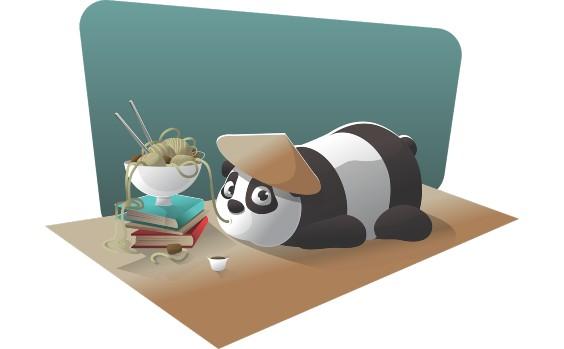 Panda Faul im Büro